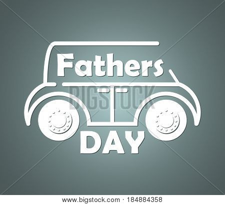 Volumetric contour silhouette of the car with inscribed congratulatory text on the fathers day. Isolated on a gradient background. Vector illustration.