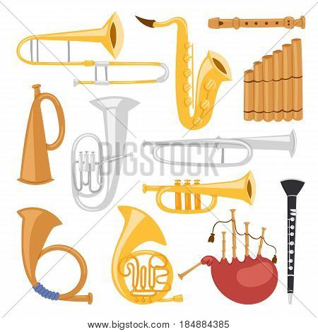Musical wind instruments isolated on white background blow blare studio acoustic and shiny musician equipment orchestra trumpet vector illustration. Sound metal woodwind tool.