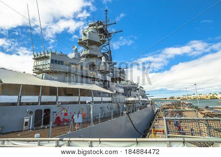 HONOLULU, OAHU, HAWAII, USA - AUGUST 21, 2016:Missouri Battleship Memorial in Pearl Harbor Honolulu Hawaii, Oahu island of United States. National historic patriotic landmark.