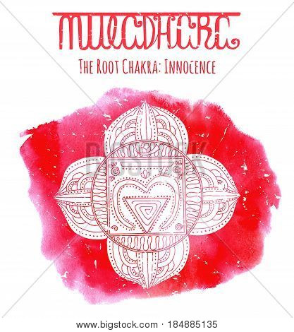 White silhouette of  the root chakra on red background with lettering. Hand drawn watercolor and graphic illustration, esoteric drawings