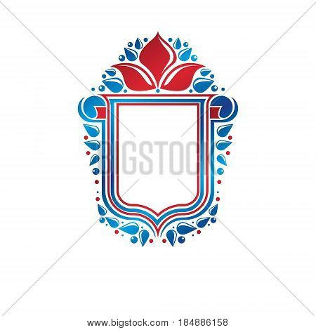 Blank heraldic design with copy space vector vintage protection shield emblem decorated with lily flower and rolled-up ends.