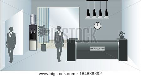 Visualization of the reception room. Office with workplace or business, flowers and reception desk. Man outline. Water Cooler. Vector illustration in flat style.