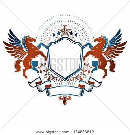 Graphic vintage emblem composed with winged Pegasus ancient animal element luxury ribbon and pentagonal stars. Heraldic vector design element. Retro style label heraldry logo.