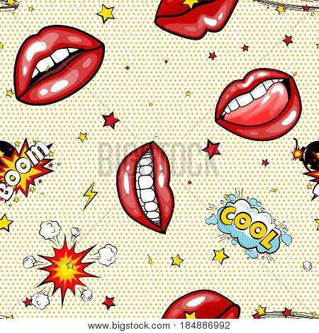 Seamless pattern cartoon comic super speech bubble labels with text, sexy open red lips with teeth, retro cartoon vector pop art illustration, halftone dot vintage effect background.