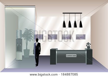 Visualization of the reception room with reception desk. Office with workplace or business flowers. Man outline. Water Cooler. Glass panel. Vector illustration in flat style.