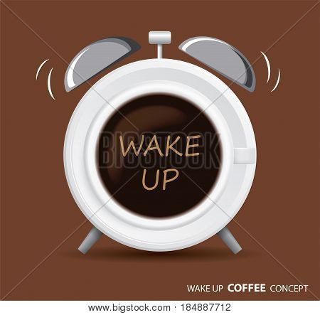 wake up coffee and alarm clock concept background