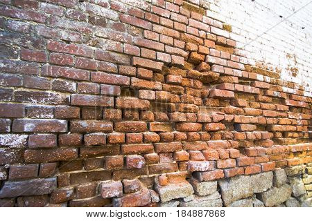 Old brick red wall . The concept