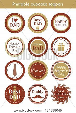 Printable hipster cupcake toppers for father's day. Vector set of labels, stickers, cupcake toppers