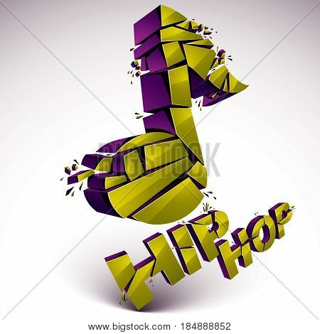 Green 3d vector musical note broken into pieces explosion effect. Dimensional art melody symbol hip hop music theme