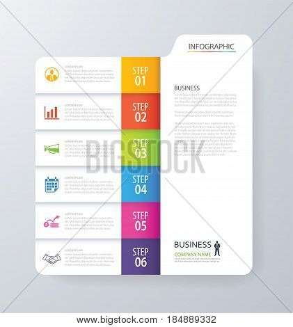 Infographic vertical 6 tab index design vector and marketing template business. Can be used for workflow layout diagram annual report web design. Business concept with options steps or processes.