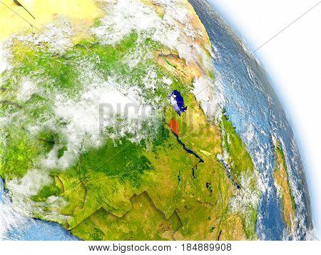 Burundi On Model Of Earth