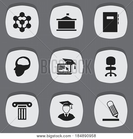 Set Of 9 Editable Science Icons. Includes Symbols Such As Writing, Molecule, Univercity And More. Can Be Used For Web, Mobile, UI And Infographic Design.