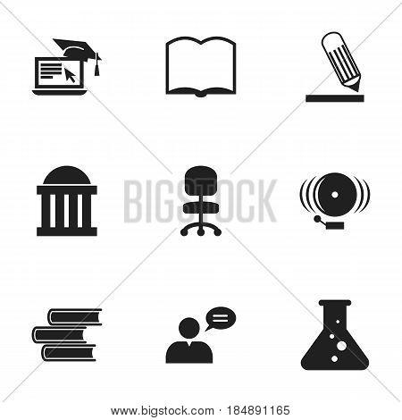 Set Of 9 Editable Science Icons. Includes Symbols Such As Distance Learning, Ring, Writing And More. Can Be Used For Web, Mobile, UI And Infographic Design.
