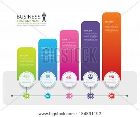 Infographic 5 tab design vector and marketing template business. Can be used for workflow layout diagram annual report web design.