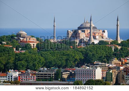 The View Of Hagia Sophia And Hagia Irene On The Background Of The Marmara Sea, Istanbul