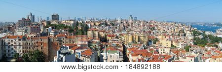 The Panoramic View Of Istanbul From The Galata Tower.