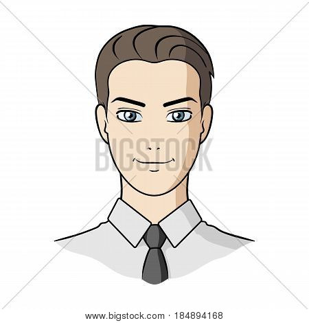 Avatar of a man in a shirt. Avatar and face single icon in cartoon style