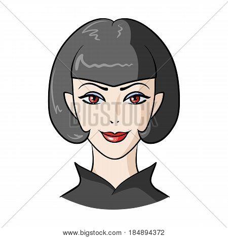 Avatar girl with short hair. Avatar and face single icon in cartoon style