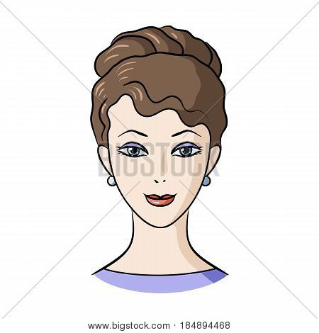 Avatar of a girl with brown hair. Avatar and face single icon in cartoon style