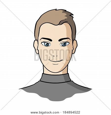 Avatar of a man with brown hair. Avatar and face single icon in cartoon style