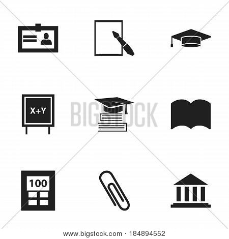 Set Of 9 Editable Science Icons. Includes Symbols Such As Notepaper, Museum, Graduate And More. Can Be Used For Web, Mobile, UI And Infographic Design.