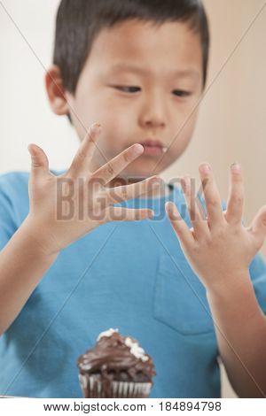 Korean boy eating cupcake
