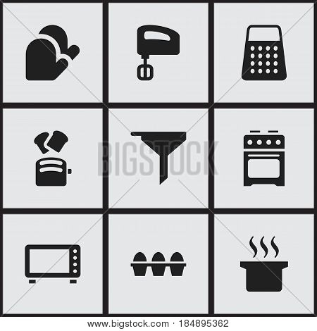 Set Of 9 Editable Cook Icons. Includes Symbols Such As Filtering, Agitator, Slice Bread And More. Can Be Used For Web, Mobile, UI And Infographic Design.