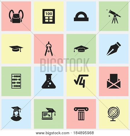 Set Of 16 Editable Graduation Icons. Includes Symbols Such As Envelope, Math Root, Math Tool And More. Can Be Used For Web, Mobile, UI And Infographic Design.