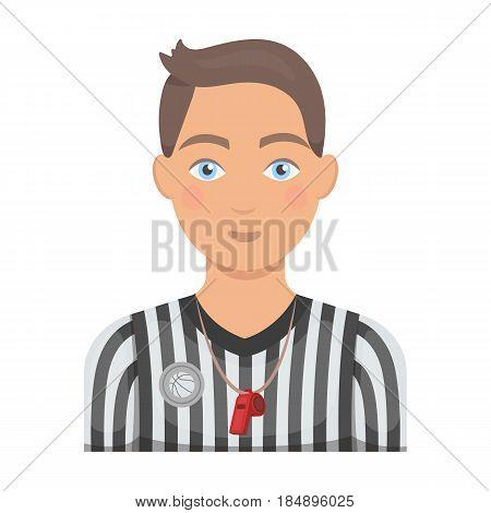 Basketball referee. Basketball single icon in cartoon style