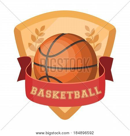Basketball emblem. Basketball single icon in cartoon style