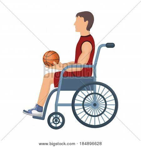 Basketball player disabled. Basketball single icon in cartoon style
