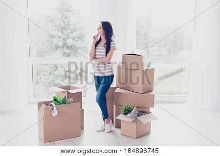 Dreamy Girl Is Thinking How She Will Organize Everything Ih Her New Apartment She Just Moved In