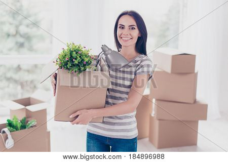 Cheerful Young Pretty Brunette Is Packing Her Stuff At The Box To Move To New Place. She Is Happy An