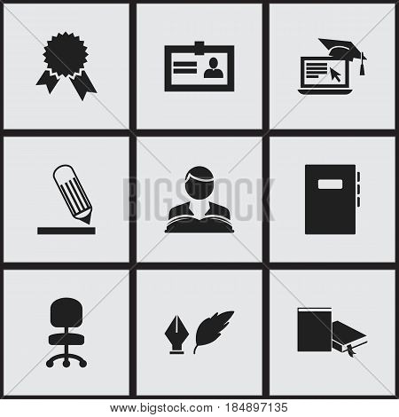 Set Of 9 Editable School Icons. Includes Symbols Such As Certification, Workbook, Writing And More. Can Be Used For Web, Mobile, UI And Infographic Design.