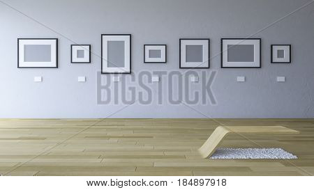 3d rendering image of gallery room with blank photo frame hang on the old cracked concrete wall and wooden floor and seating