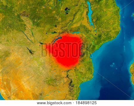 Zimbabwe On Physical Map