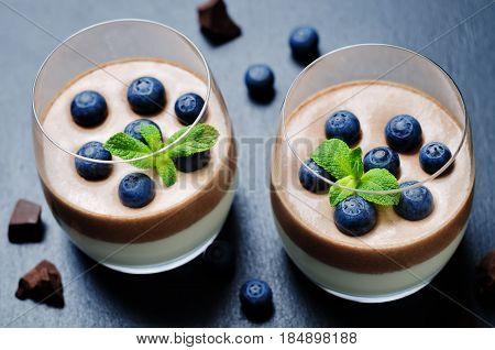 Greek yogurt vanilla chocolate panna cotta on a black background