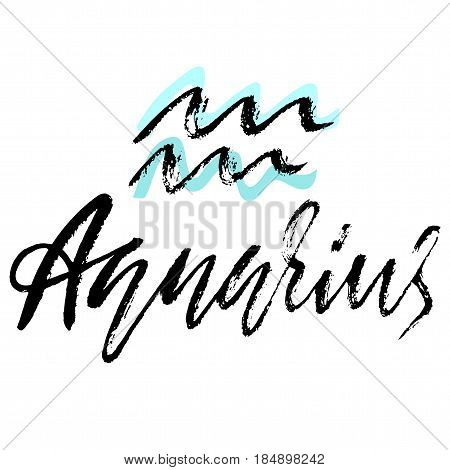 Zodiac sign of Aquarius. Astrology vector illustration. Sketch isolated on white background. Handwritten lettering design