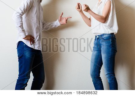 Man And A Woman Have A Fight