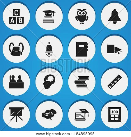 Set Of 16 Editable Science Icons. Includes Symbols Such As Chart Board, Student, Bookmark And More. Can Be Used For Web, Mobile, UI And Infographic Design.