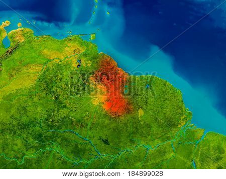 Guyana On Physical Map