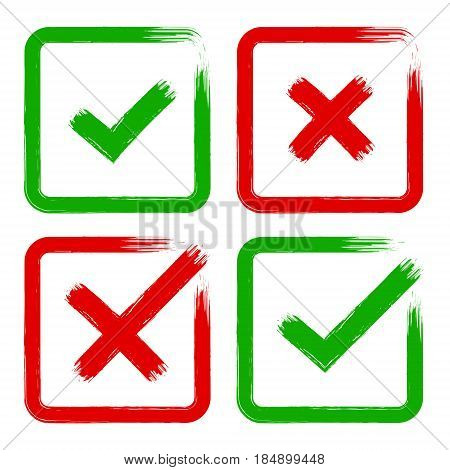 Vector tick and cross brush stroke sign set. Green and red OK X vote option check mark icons. Isolated objects on white background. Flat grunge marks graphic design. Symbol for yes and no decision.