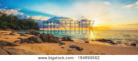 Panorama of Naithon sea beach at sunset. Thailand Phuket