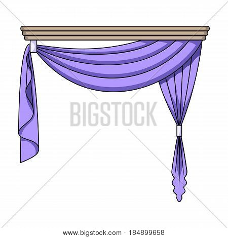 Curtains with drapery on the cornice. Curtains single icon in cartoon style k illustration .