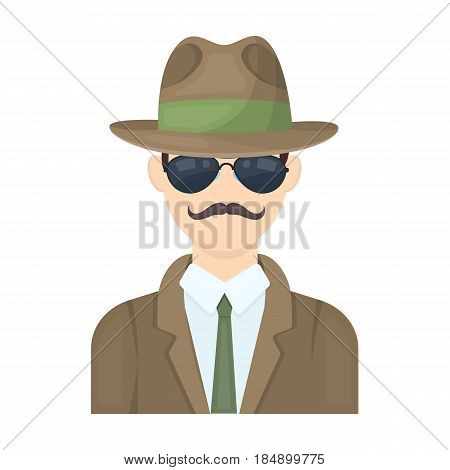 Man in hat suit raincoat and glasses. The detective undercover. Detective single icon in cartoon style illustration.