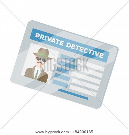 Documents of a private detective. Card that shows the person of the detective. Detective single icon in cartoon style illustration.