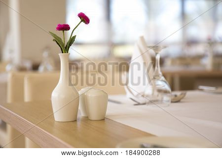 Empty restaurant table served for the lunch