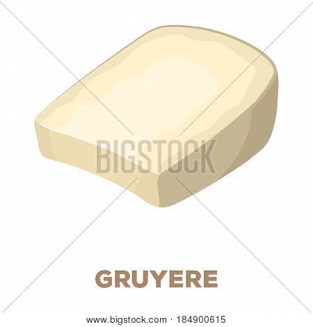 Gruyere. Different kinds of cheese single icon in cartoon style rater, bitmap symbol stock illustration .