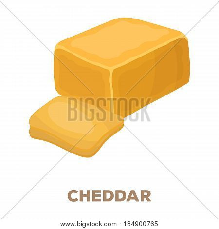 Cheddar.Different kinds of cheese single icon in cartoon style rater, bitmap symbol stock illustration .