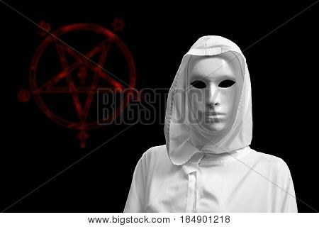 occultism , priestess of white magic, sorcerer with magical mask occult Masonic Lodge